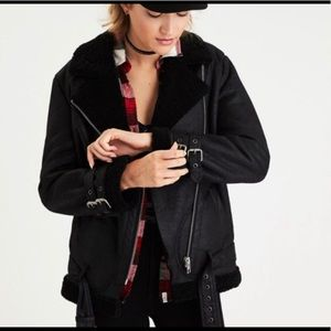 American eagle faux suede moto jacket fur size Lg